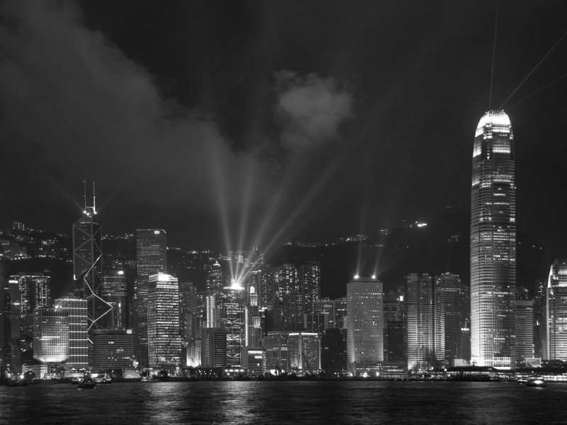 Hong Kong Laser Show_BW